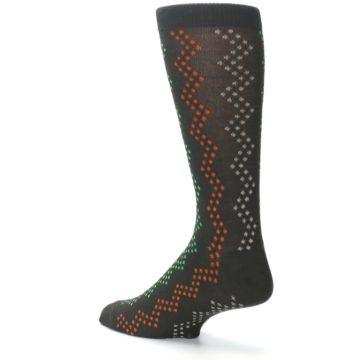 Image of Brown Zig-Zag Dots Men's Dress Socks (side-2-back-14)