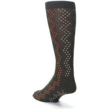 Image of Brown Zig-Zag Dots Men's Dress Socks (side-2-back-15)