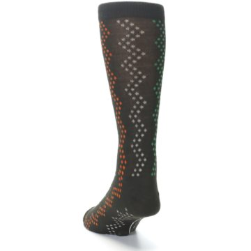 Image of Brown Zig-Zag Dots Men's Dress Socks (side-2-back-16)