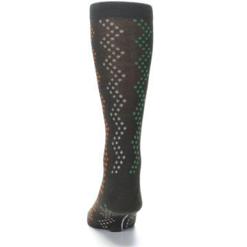 Image of Brown Zig-Zag Dots Men's Dress Socks (back-17)