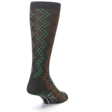 Image of Brown Zig-Zag Dots Men's Dress Socks (side-1-back-20)