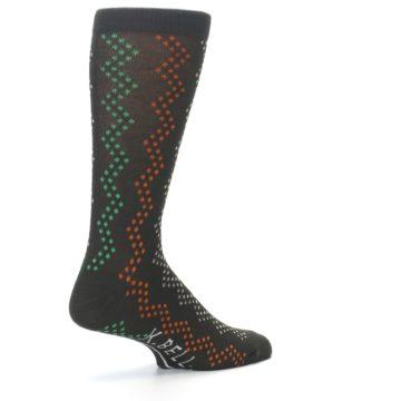 Image of Brown Zig-Zag Dots Men's Dress Socks (side-1-back-22)