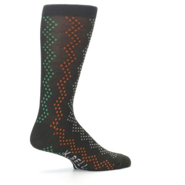 Image of Brown Zig-Zag Dots Men's Dress Socks (side-1-23)