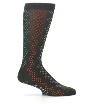 Image of Brown Zig-Zag Dots Men's Dress Socks (side-1-24)