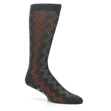 Image of Brown Zig-Zag Dots Men's Dress Socks (side-1-25)