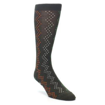 Image of Brown Zig-Zag Dots Men's Dress Socks (side-1-27)