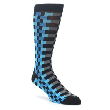 Image of Grey Black Blue Checker Men's Dress Socks (side-1-front-01)