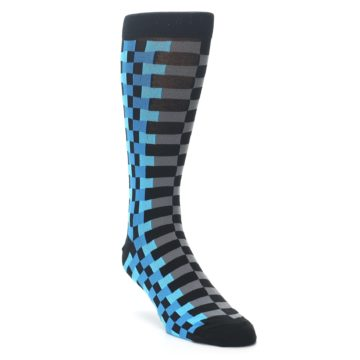 Image of Grey Black Blue Checker Men's Dress Socks (side-1-front-02)