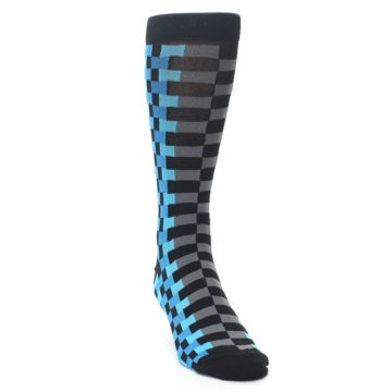 Image of Grey Black Blue Checker Men's Dress Socks (side-1-front-03)