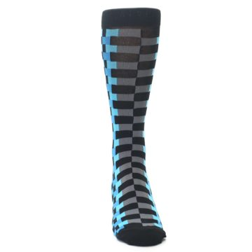 Image of Grey Black Blue Checker Men's Dress Socks (front-04)