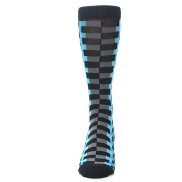 Image of Grey Black Blue Checker Men's Dress Socks (front-05)