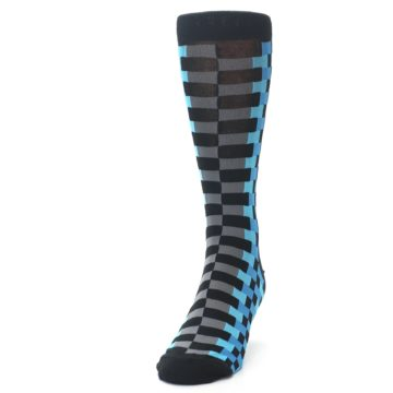 Image of Grey Black Blue Checker Men's Dress Socks (side-2-front-06)