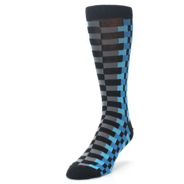 Image of Grey Black Blue Checker Men's Dress Socks (side-2-front-07)