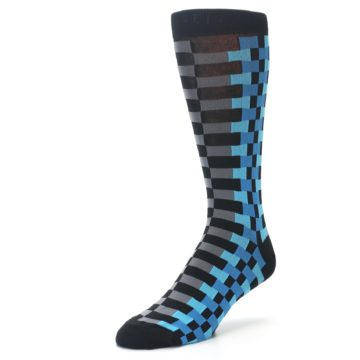 Image of Grey Black Blue Checker Men's Dress Socks (side-2-front-08)