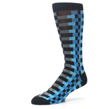 Image of Grey Black Blue Checker Men's Dress Socks (side-2-09)
