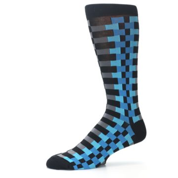 Image of Grey Black Blue Checker Men's Dress Socks (side-2-10)