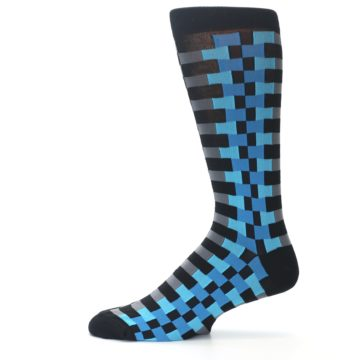 Image of Grey Black Blue Checker Men's Dress Socks (side-2-11)