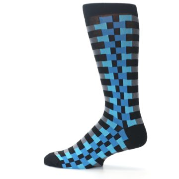 Image of Grey Black Blue Checker Men's Dress Socks (side-2-12)