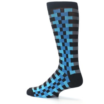 Image of Grey Black Blue Checker Men's Dress Socks (side-2-13)