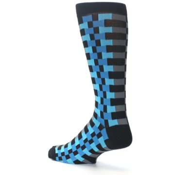 Image of Grey Black Blue Checker Men's Dress Socks (side-2-back-14)