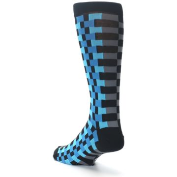Image of Grey Black Blue Checker Men's Dress Socks (side-2-back-15)