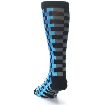 Image of Grey Black Blue Checker Men's Dress Socks (side-2-back-16)