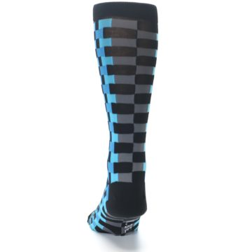 Image of Grey Black Blue Checker Men's Dress Socks (back-17)