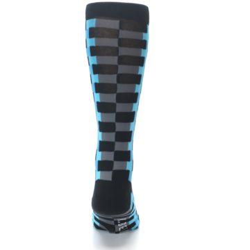 Image of Grey Black Blue Checker Men's Dress Socks (back-18)