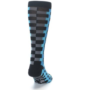 Image of Grey Black Blue Checker Men's Dress Socks (back-19)