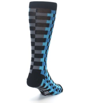 Image of Grey Black Blue Checker Men's Dress Socks (side-1-back-20)