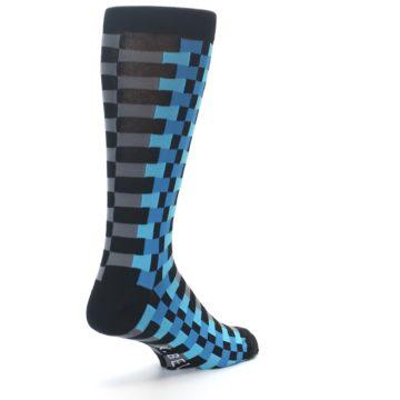 Image of Grey Black Blue Checker Men's Dress Socks (side-1-back-21)