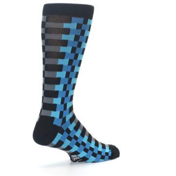 Image of Grey Black Blue Checker Men's Dress Socks (side-1-back-22)