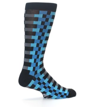 Image of Grey Black Blue Checker Men's Dress Socks (side-1-23)