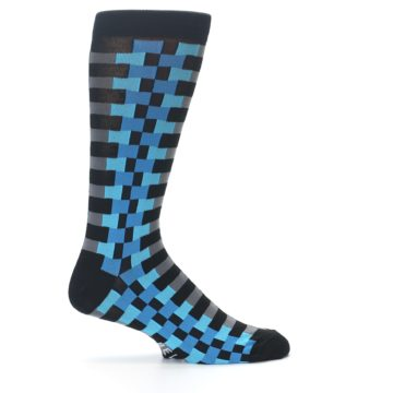 Image of Grey Black Blue Checker Men's Dress Socks (side-1-24)