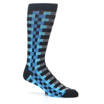 Image of Grey Black Blue Checker Men's Dress Socks (side-1-25)