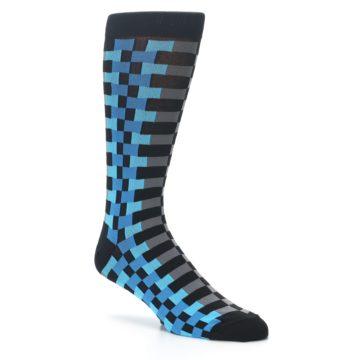 Image of Grey Black Blue Checker Men's Dress Socks (side-1-26)