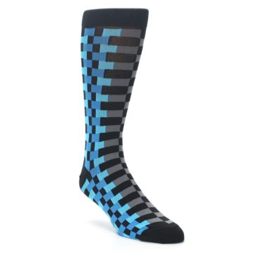 Image of Grey Black Blue Checker Men's Dress Socks (side-1-27)
