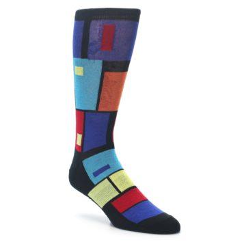 Image of Black Multi Blocks Men's Dress Socks (side-1-front-01)