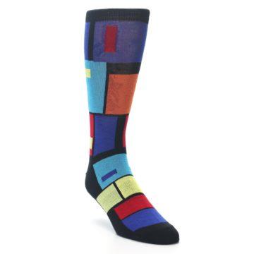 Image of Black Multi Blocks Men's Dress Socks (side-1-front-02)