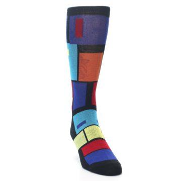 Image of Black Multi Blocks Men's Dress Socks (side-1-front-03)
