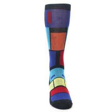 Image of Black Multi Blocks Men's Dress Socks (front-04)