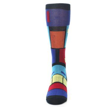 Image of Black Multi Blocks Men's Dress Socks (front-05)