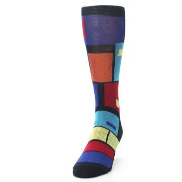 Image of Black Multi Blocks Men's Dress Socks (side-2-front-06)
