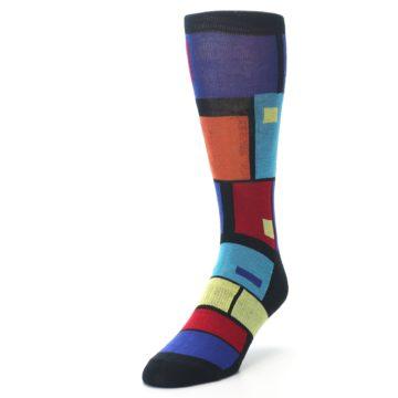 Image of Black Multi Blocks Men's Dress Socks (side-2-front-07)