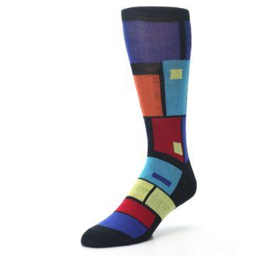 Image of Black Multi Blocks Men's Dress Socks (side-2-front-08)