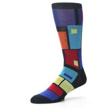 Image of Black Multi Blocks Men's Dress Socks (side-2-09)