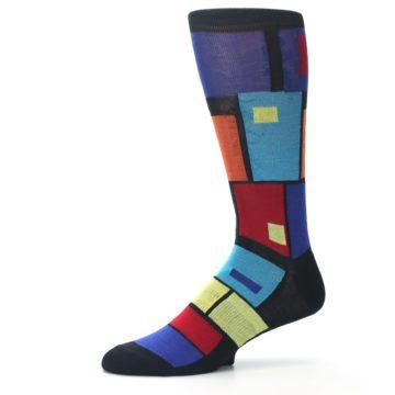 Image of Black Multi Blocks Men's Dress Socks (side-2-10)