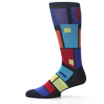 Image of Black Multi Blocks Men's Dress Socks (side-2-11)