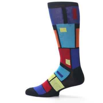 Image of Black Multi Blocks Men's Dress Socks (side-2-12)