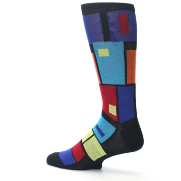 Image of Black Multi Blocks Men's Dress Socks (side-2-13)